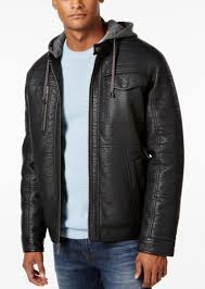 men s faux leather hooded jacket