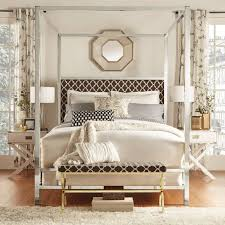 Chelsea Lane Bromley Moroccan Print Upholstered Canopy Bed