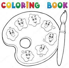 Coloriage Th Me De Palette Peinture Livre 2 Image Vectorielle Palette De Peinture Coloriage L