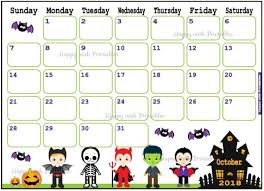 Printable October Calendar Calendar October 2018 Halloween Planner Printable Cute Etsy