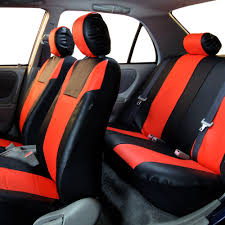 faux leather car seat covers for auto car sporty tangerine red black 2