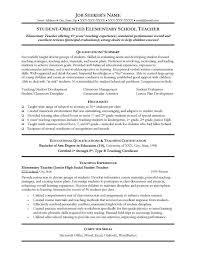 Example Of Teacher Resume Interesting Elementary Teacher Resume Nice Teaching Resume Sample Sample