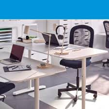 image business office. A White BEKANT Desk And FLINTAN Chair In An Office Image Business