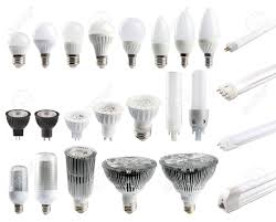 types of home lighting. A Large Set Of LED Bulbs Isolated On White Background. Types Home Lighting T