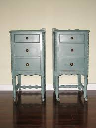 Little Green Brush Two Skinny Nightstands Nightstand