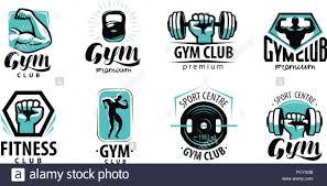 Fitness Gym Logo Or Label Sport Bodybuilding Concept