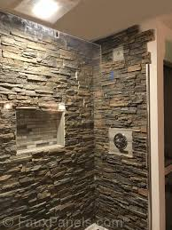 beautiful look for our shower at the cabin we use these stacked stone panels for the interior of our shower at the cabin it looks absolutely beautiful