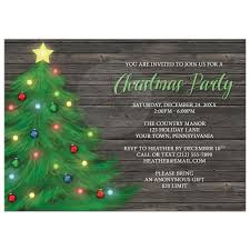 Christmas Holiday Invitations Christmas Party Invitations Rustic Wood Holiday Tree With Lights