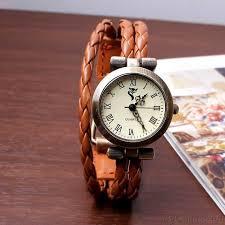 thin strips leather wrap strap bracelet watch