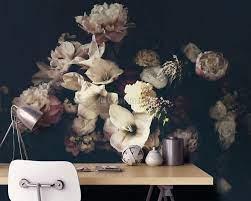 Dutch Dark Floral Wallpaper Mural ...