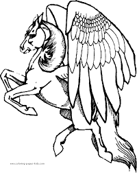 Pegasus Color Page Fantasy Medieval Coloring Pages Color Plate