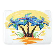 palm tree bath rug blue orange palm tree bath rug