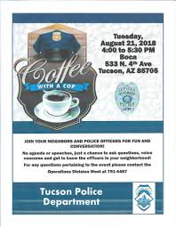 Coffee With A Cop Flyer Coffee With A Cop August 21 Armory Park Neighborhood