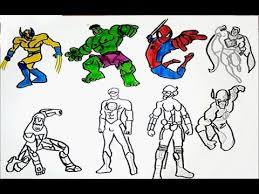 See more ideas about superhero coloring, superhero coloring pages, coloring pages. All Superheroes Coloring Pages Hulk Iron Man Spiderman Superman Wolverine Flash Drawing Colors Youtube