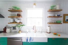 place tucked away so the floating shelves get to be a display place for styled and beautiful items they really add to the overall look of the kitchen