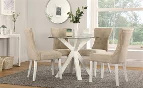 hatton round white wood and glass dining table with 4 bewley oatmeal chairs only 4