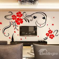 Small Picture Gorgeous Floral and Butterfly Pattern Living Room 3D Wall Sticker