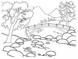 Beautiful River Bank Landscape Coloring Pages Coloring Tog Art