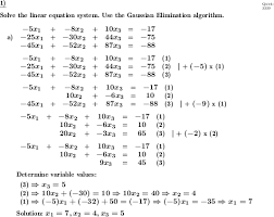 linear equation system gaussian