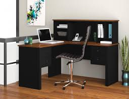 l shaped desk with hutch black tuscany brown