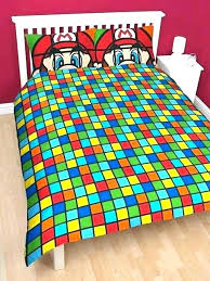 bed sheets super brothers retro double panel duvet cover bedding set sheet toddler bedroom bros kart