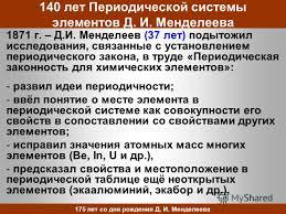 Презентация на тему Дмитрий Иванович Менделеев и его вклад в  14 140
