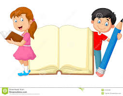 cartoon kids with book and pencil royalty free stock image