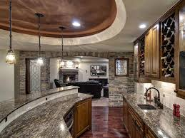 Interior:Beautiful Basement Wet Bar Design Using Grey Marble Countertop  Also Brick Stone Wall Plus