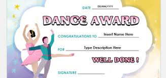 Dance Award Certificate Professional Certificate Templates