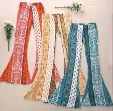 Flare Pants Pattern Beauteous Boho Pants Hippy Pants Blue Pants Yellow Pants Orange Pants