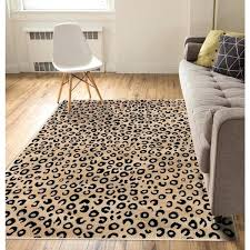 well woven modern leopard beige black animal print area rug rugs home depot