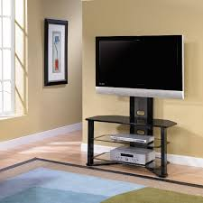 small black glass flat screen tv stand with mount and  shelf
