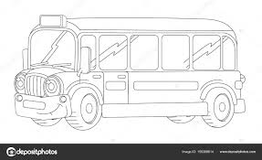 Gelukkig En Grappig Uitziende Cartoon Bus Stockfoto