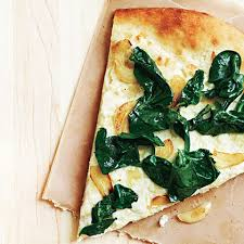 three cheese white pizza with spinach