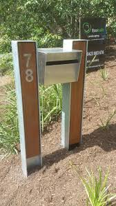 Modern Mailbox Designs Galvanised H Beam Steel Posts Powder Coated And Hardwood