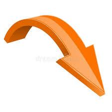 Оранжевая стрелка 3d Вниз с сияющего значка Иллюстрация вектора -  иллюстрации насчитывающей стрелка, оранжевая: 133429177