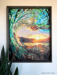 DIY Paint By Numbers Art: Surf At Sunset | Made In A Day