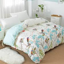 new flower birds pattern duvet cover with zipper 100 cotton quilt cover soft comforter cover