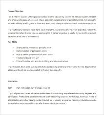 Objective For High School Resumes Resume Examples For Highschool Students Template Business