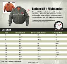 Rothco Ma 1 Flight Jacket Size Chart Uniform Tactical Supply