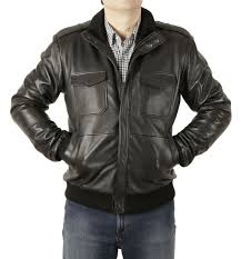 sl100273 men s flight style zip through collar black leather er jacket