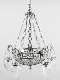 antique french empire revival silver plated chandelier circa 1920 ref no 08568