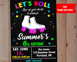 Decor Nice Roller Skating Party Invitations For Sweet