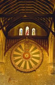king arthur s round table hanging in the great hall winchester england