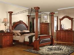 Roman Empire Canopy 6 Piece Bedroom Set In Cherry Finish By Acme   19340Q