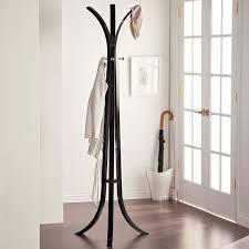 Dark Wood Coat Rack Interior black metal Standing Coat Rack with three legs on dark 9