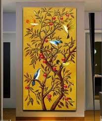 2018 yellow auious trees birds falling branches abstract art painting no frames from livehome 57 29 dhgate com