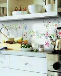 the rear wall white kitchen with colorful fl tile paint and tile colors