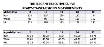 Wear Size Chart Ready To Wear Sizing Chart The Elegant Executive Curve