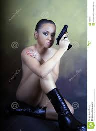 Naked Suicidal Teenage Girl With A Gun Stock Photo Image 1880870